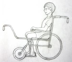 Vista lateral de un posible diseño de la silla de ruedas de Tonio