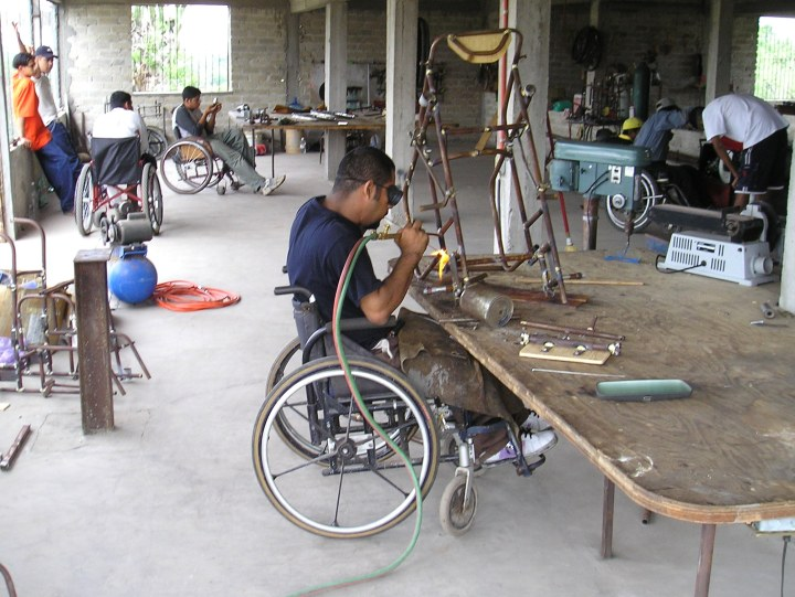 Here Tomás makes a wheelchair at PROJIMO Duranguito.