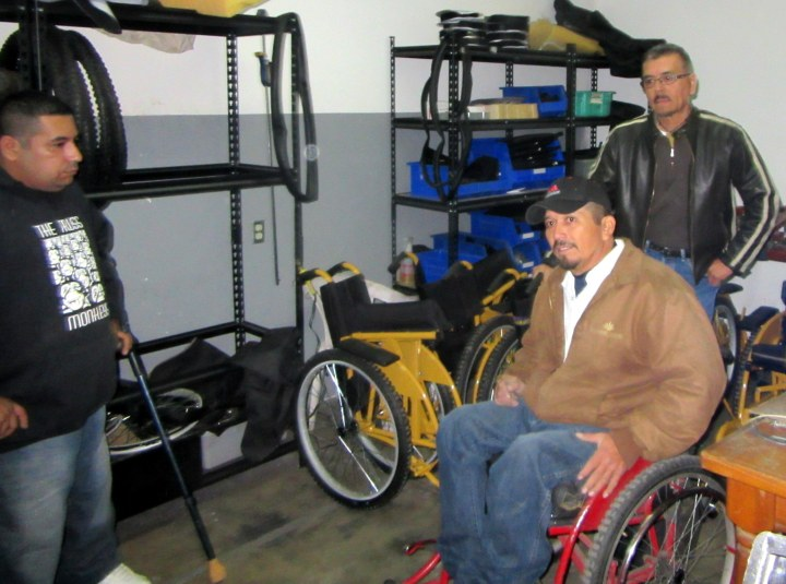 Gabriel and Kiko (on right) welcomed Tomás to apprentice with in the ARSOBO wheelchair workshop.