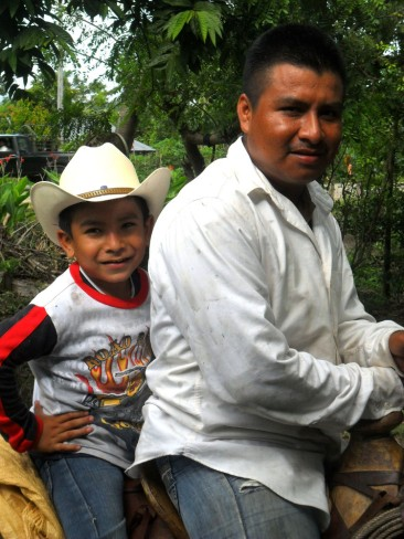 Werner Obeniel on muleback with his young nephew.