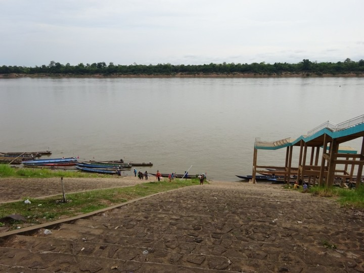 Mekong River crossing from Laos, at Khemarat, Thailand (The water level rises much higher in the summer monsoons.)