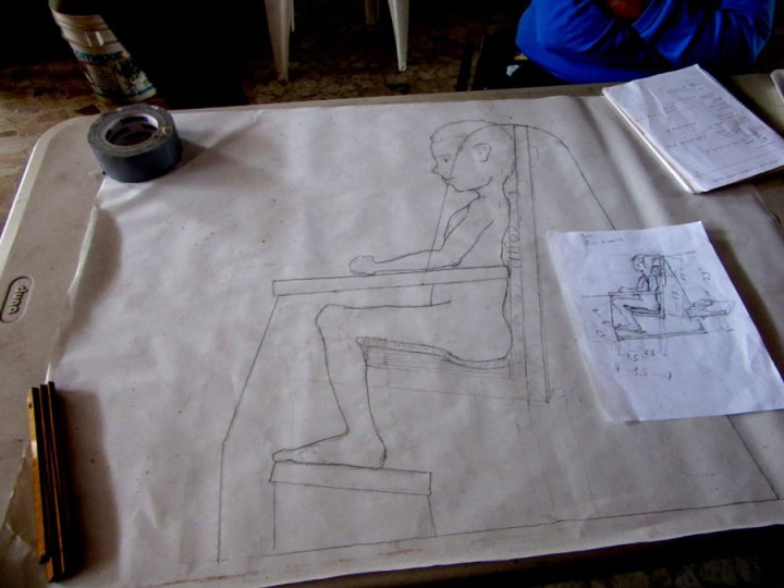 Drawing the design for Susi's seat